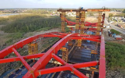 Budowa mostu MS-4B wciągu S7 nadkanałem Pauzeńskim.